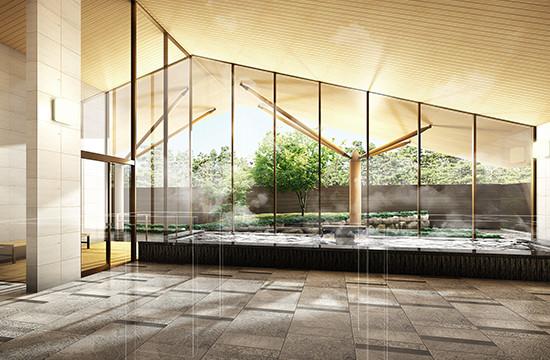 広告物件向けCGパース、建築パース 例1 温泉